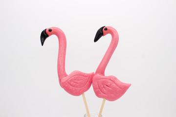 Lollipops in the form beautiful flamingo