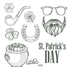 Sketch set for Saint Patricks Day, pot of gold coins, beard and mustaches, sunglasses, horseshoe, clover leaf, tobacco tube lettering