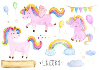 Beautiful rainbow watercolor unicorns set. Nursery unicorns illustration.