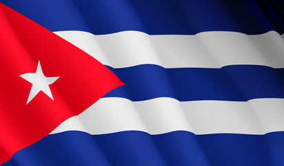 Illustration of a flying Cuban flag