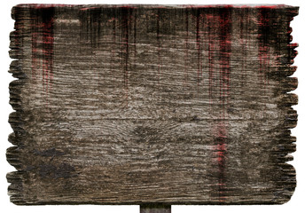 Bloody background scary old wood planks sign textures isolated on white background, concept of horror and spooky Wall mural