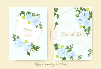 Vintage Flowers for Wedding Invitation.