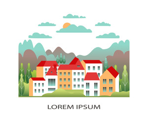 Rural valley Farm countryside isolated on white background. Village landscape with ranch in flat style design logo. Landscape with house farm, building, tree, cloud, hills cartoon vector illustration