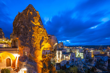 Wall Mural - Cappadocia city skyline at night in Goreme, Turkey