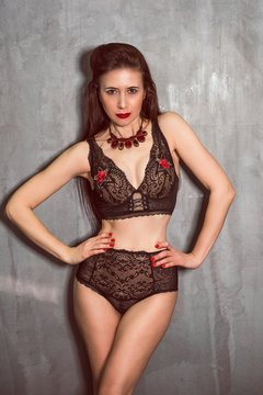 Portrait of sexy asian woman in lingerie. Underwear mix clothes. Middle aged  lady, sensual concept