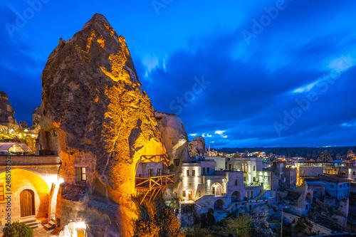 Wall mural Cappadocia city skyline at night in Goreme, Turkey