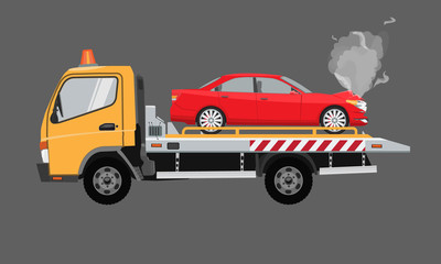 Yellow tow truck with sedan car on it. Flat vector with solid color design.