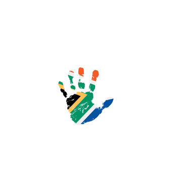 south africa flag and hand on white background. Vector illustration