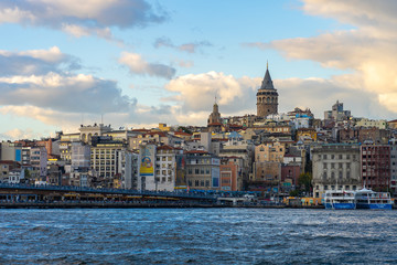 Wall Mural - Istanbul city skyline with Galata Tower in Istanbul, Turkey