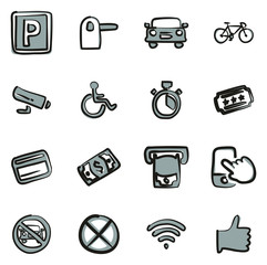 Parking or Parking Lot Icons Freehand 2 Color
