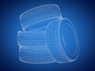 Tyres lineart outline blueprint - 3d rendering