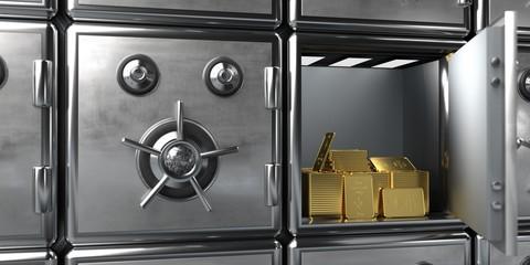 Fototapete - Safe Fine Gold Bars 10 Oz