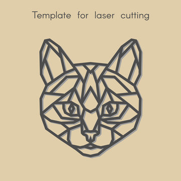 Template animal for laser cutting. Abstract geometric cat for cut. Stencil for decorative panel of wood, metal, paper. Vector illustration.