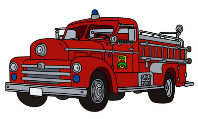 The vectorized hand drawing of an old red fire truck