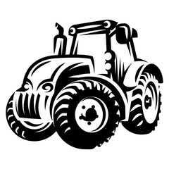 Monochrome vector illustration with tractor for farmer market