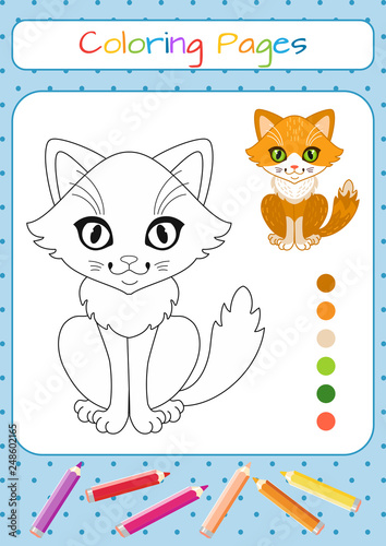 Funny little cat. Coloring book. Educational game for children ...