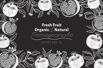 Pomegranate fruit design template. Hand drawn vector fruit illustration on chalk board. Engraved style vintage botanical background. Can be use for design menu, packaging, recipes, market products.