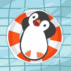 penguin swimming at the pool