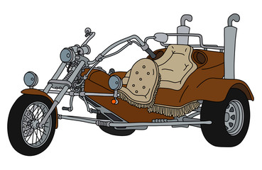 The hand drawing of a brown heavy motor tricycle