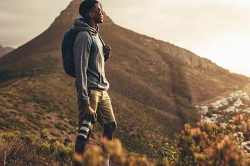 Social media influencer on hiking trip