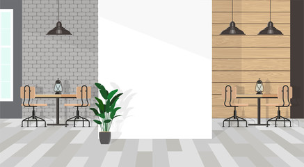 The interior of the cafe in gray tones with a white wall fragment. Minimalistic wooden furniture made of wood and black metal. Vector flat illustration.