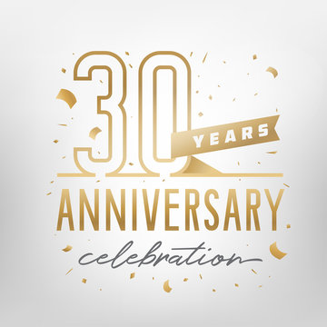 30th anniversary celebration golden template. Vector illustration.