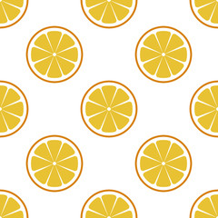 Orange sliced. seamless pattern orange on white background. EPS 10. Vector illustration