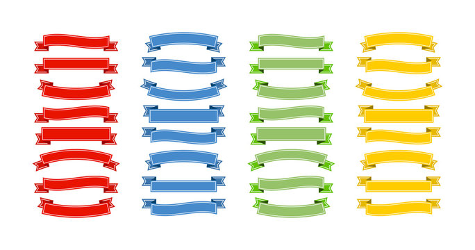 Ribbons Banners collection in red, blue, green and yellow on blank bakcground