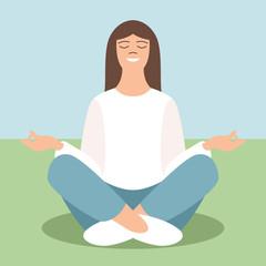 young girl meditating, vector illustration,