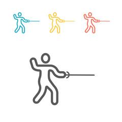 Swordsman line icon. Vector sign for web graphics.
