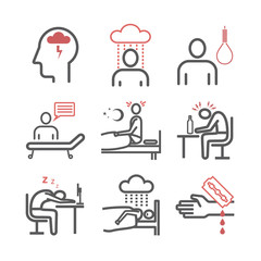 Depression infographics. Symptoms, Treatment. Line icons set. Vector signs for web graphics.