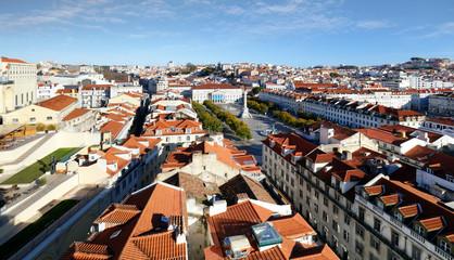 Lisbon skyline from Santa Justa Lift, Portugal