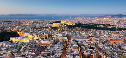 Greece - Athens skyline with acropolis at night