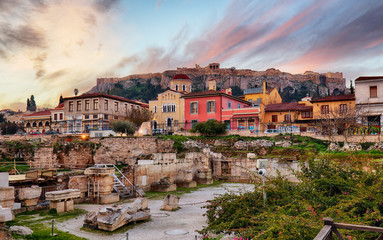 Athens with Acropolis at sunrise, Greece