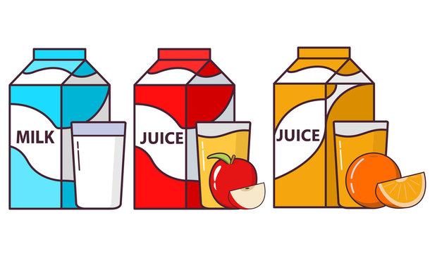 Package milk. Packing orange juice. Apple freshly squeezed juice. Fruit flat vector.Healthy food.Dairy vegetarian product.Glass cup.
