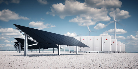 Photorealistic futuristic concept of renewable energy storage.
