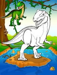 Coloring dinosaurs. Allosaurus. Coloring for kids.