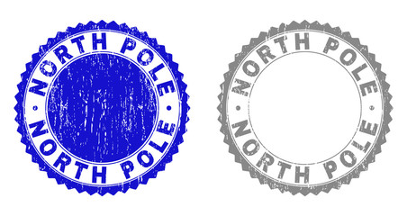 Grunge NORTH POLE stamp seals isolated on a white background. Rosette seals with grunge texture in blue and grey colors. Vector rubber stamp imprint of NORTH POLE caption inside round rosette. Wall mural