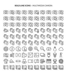 Camera, bold line icons