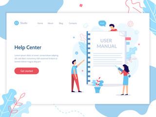 Help center web banner template. User manual concept. Flat vector illustration.