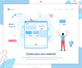 A man creates his own website. Website builder concept. Vector illustration template for landing page. Flat design.
