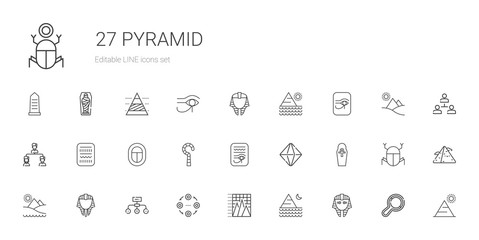 pyramid icons set