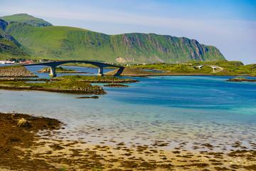 Road and bridge over sea., Lofoten Norway