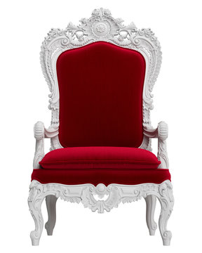 Classic baroque armchair solated on white background.Digital Illustration.3d rendering