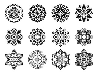 Collection of mandalas with geometric ornaments. Set of ethnic logos, emblems, badges, icons isolated on white background.