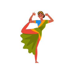 Indian Dancer in Traditional Sari, Beautiful Young Woman Performing Dance Vector Illustration
