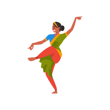 Indian Dancer Character in Green Traditional Clothes, Beautiful Smiling Young Woman Performing Folk Dance Vector Illustration