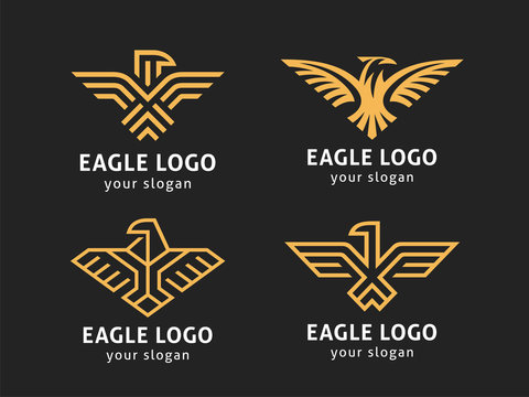 Set of 4 vector logos. Abstract eagles in a linear style.