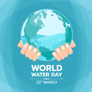 World water day banner with hand hold water in circle world glass vector design