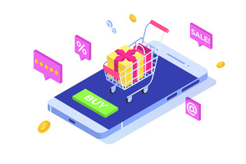 Online Shopping on mobile phone isometric concept. Ecommerce retail app on device. Vector illustration.